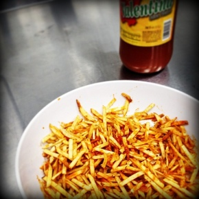Potato Stix and hot sauce